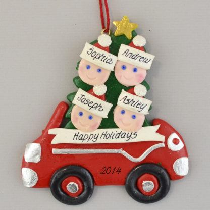 Family in Car (4) personalized christmas Ornaments