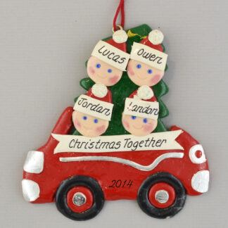Partner's Family of 4 Car Personalized christmas Ornaments