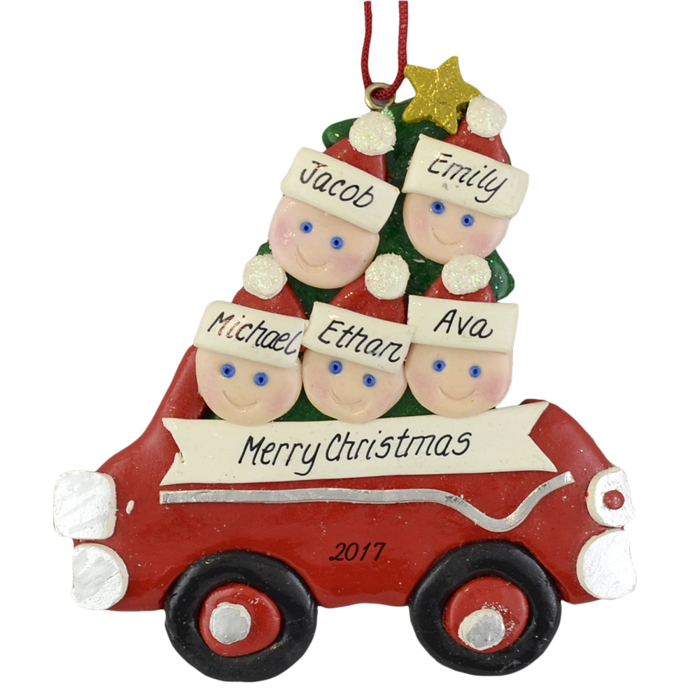 Car Christmas Ornaments.Family Of Five In Car Christmas Ornament
