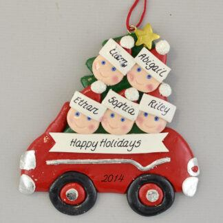 Partner's Family of 5 Car personalized Christmas Ornaments