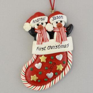 Penguin Partners in Stocking personalized christmas Ornaments
