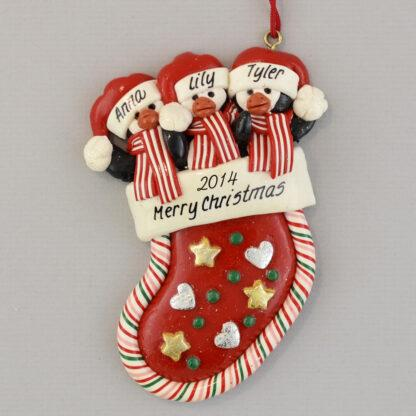 Penguins in a Stocking (3) Personalized christmas Ornaments