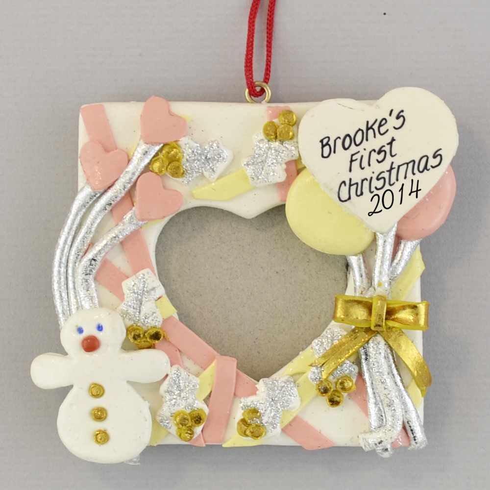 Photo Frame For Baby Girl Christmas Ornament Clay