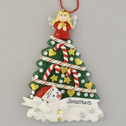 Tree with Angel and Snowman Personalized Christmas Ornaments