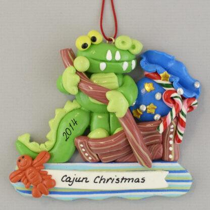Cajun Christmas Gator in Flatboat personalized christmas Ornaments