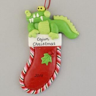 Cajun Christmas Gator Stocking personalized christmas Ornaments