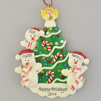 Snowmen beside the Christmas Tree (3) personalized christmas Ornaments
