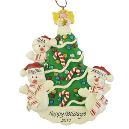 Snowmen beside the Christmas Tree personalized christmas ornaments