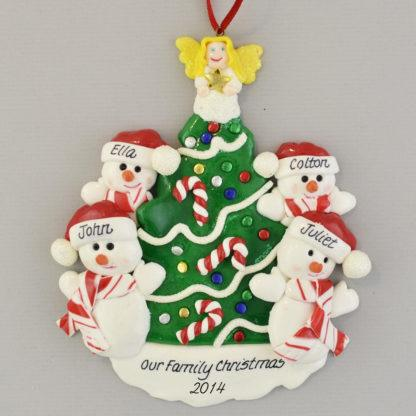 Snowmen beside the Christmas Tree (4) personalized christmas Ornaments
