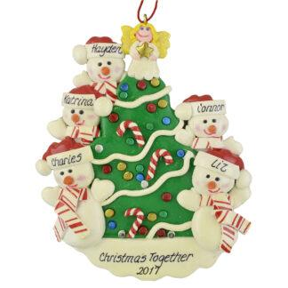 Snowmen beside the Christmas Tree (5) personalized christmas ornaments