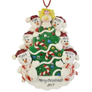 Snowmen beside the Christmas Tree (6) personalized christmas ornaments