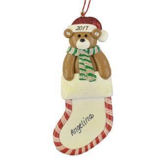 Bear in Stocking Personalized Christmas Ornaments