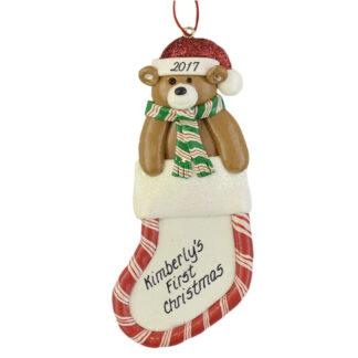 Stocking with Bear First Christmas personalized ornaments