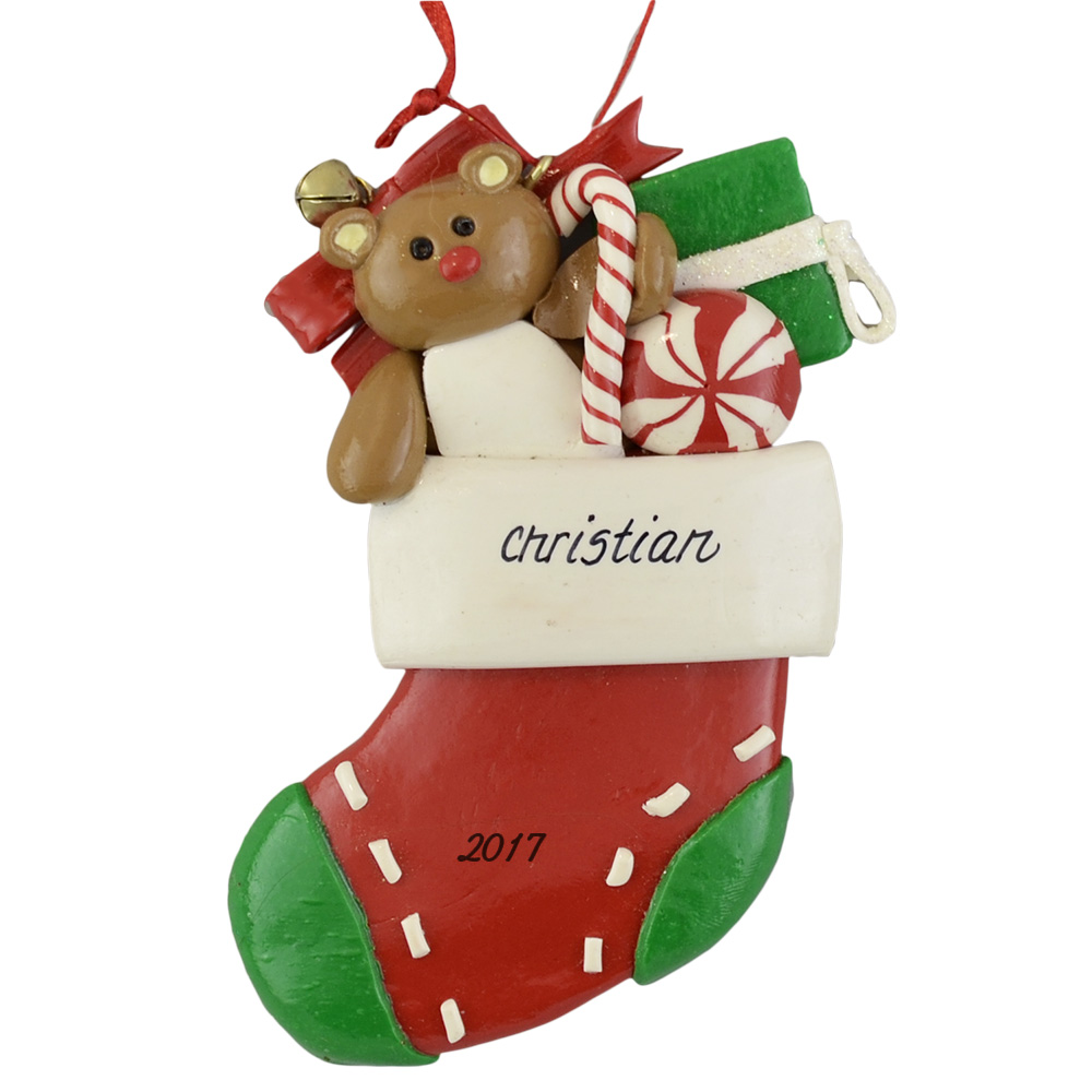 A Red Stocking personalized christmas Ornaments