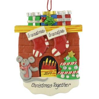 Fireplace (2) Stockings personalized christmas ornaments