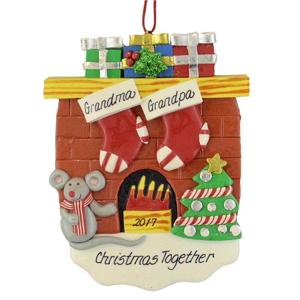 2 Fireplace Stockings Custom Holiday Ornaments Calliope