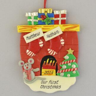 Hearth with 2 Stockings Personalized christmas Ornaments