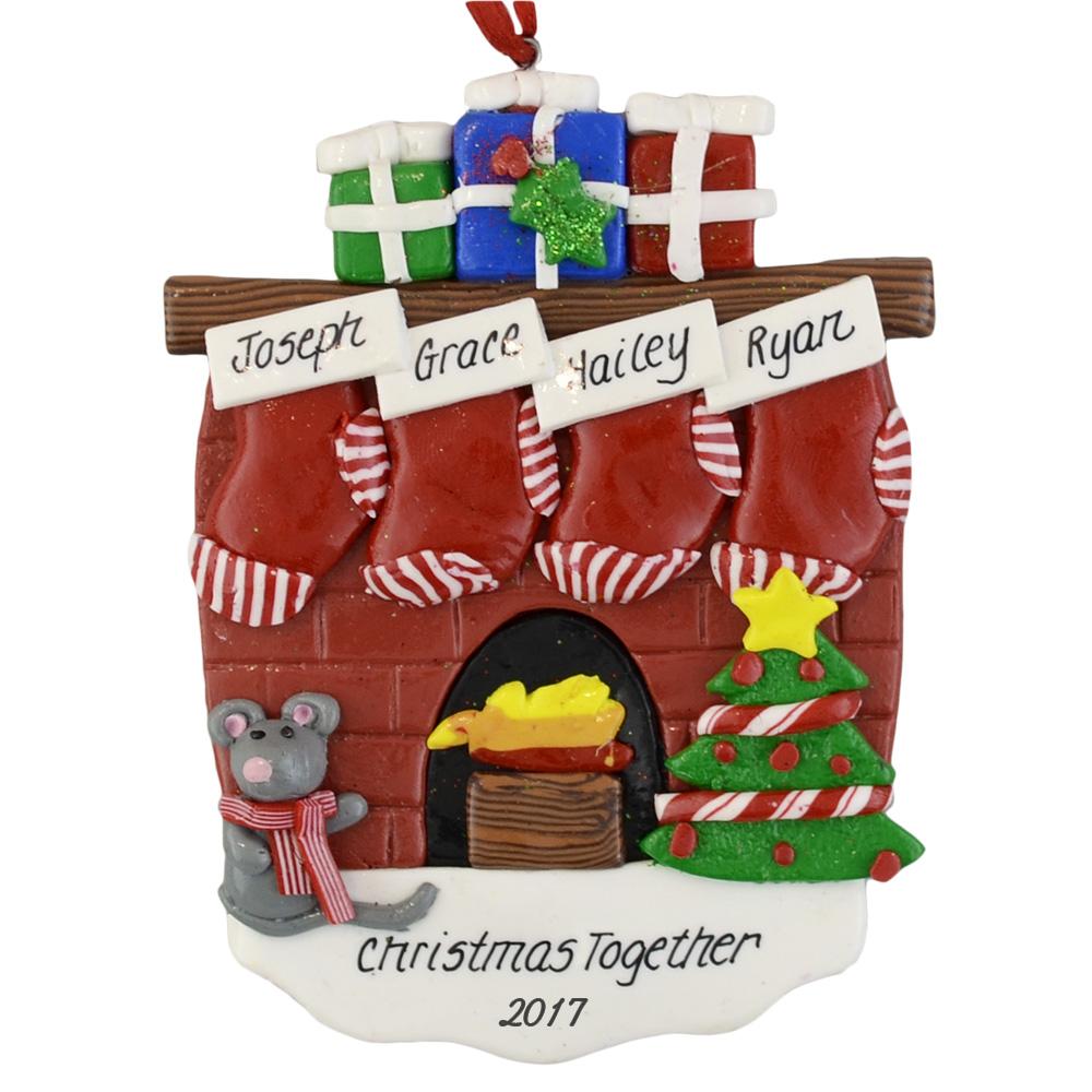 4 Stockings Fireplace Custom Holiday Ornaments Calliope