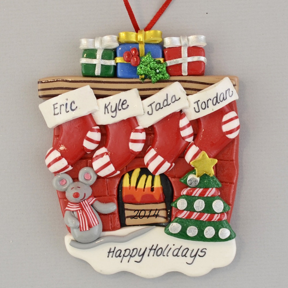 Hearth with 4 Stockings Partners personalized christmas Ornaments