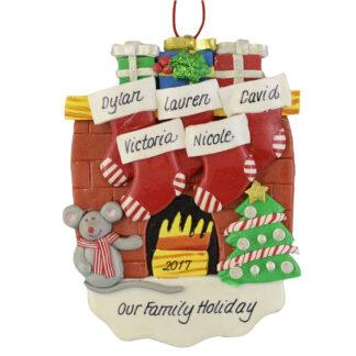 Fireplace (5) Stockings personalized christmas ornaments