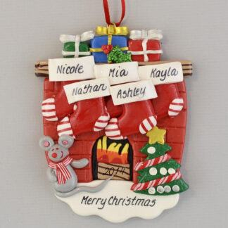 Hearth with 5 Stockings personalized Christmas Ornaments