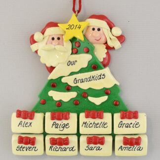 Personalized Tree with 8 Gifts Christmas Ornaments