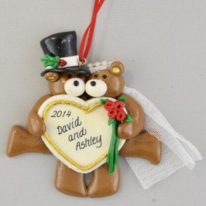 Bride and Groom Bears Personalized Wedding Christmas Ornaments