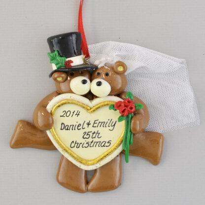 Personalized Silver Anniversary Chirstmas Ornaments
