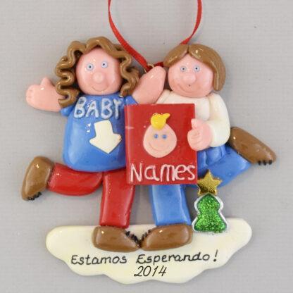 Expecting Feliz Navidad personalized christmas Ornaments