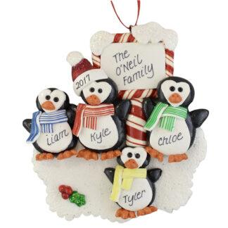 Penguins (4) with a plaque personalized christmas ornaments