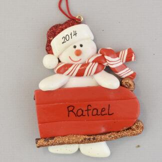 Sledding Snowman personalized christmas Ornaments