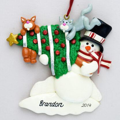 Cats on a Tree Personalized Christmas Ornaments