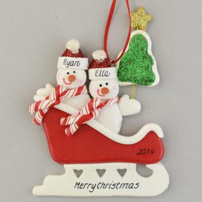 Personalized Snowmen (2) in Sleigh Christmas Ornaments