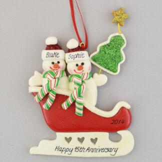 Personalized christmas ornaments Anniversary Snow Couple in Sleigh
