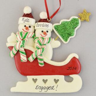 Snow Couple Sleigh Engaged Personalized christmas Ornaments