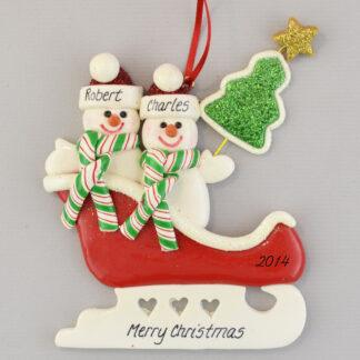Partners in a Sleigh Personalized christmas Ornaments