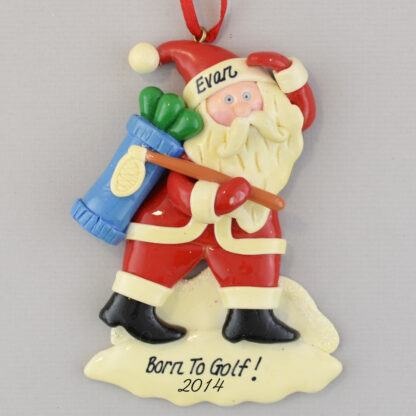 Golfing Santa personalized christmas Ornaments