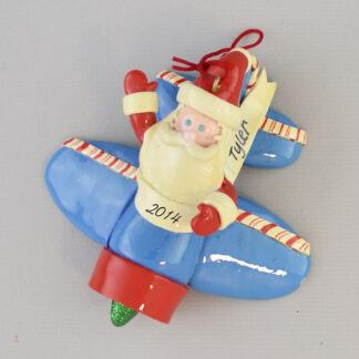 Santa in Airplane Personalized Christmas Ornaments