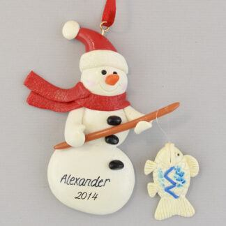 Fishing Snowman Personalized Christmas Ornaments