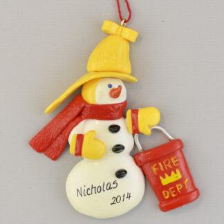 Fireman Snowman Personalized Christmas Ornaments