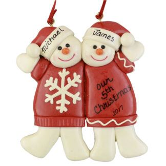 Snowman Partners Personalized Christmas Ornaments