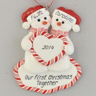 Snow Couple with Heart personalized Christmas Ornaments