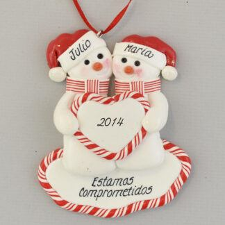 Engaged Snowmen Feliz Navidad personalized christmas Ornaments