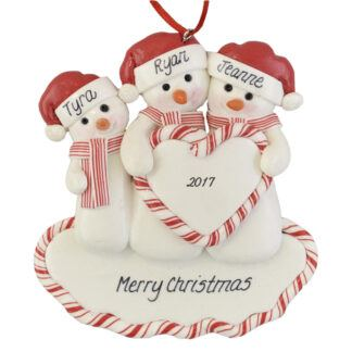 Family of Snowmen (3) Heart personalized christmas ornaments