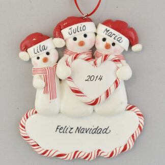 Family of Three Snowmen Feliz Navidad personalized christmas Ornaments