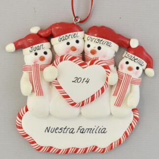 Family of Four Snowmen Feliz Navidad personalized christmas Ornaments
