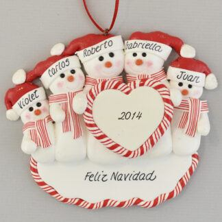 Family of Five Snowmen Feliz Navidad personalized christmas Ornaments
