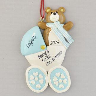 Personalized Baby Carriage Blue christmas Ornaments