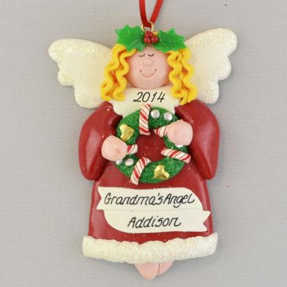 Angel Blonde Hair Personalized Christmas Ornaments