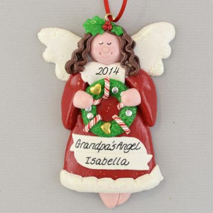 Angel Brunette Personalized christmas Ornaments